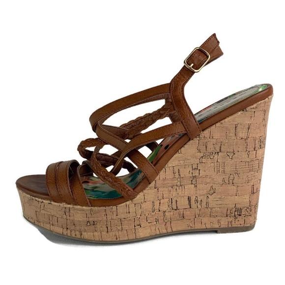 Madden Girl Brown Cork Wedge Sandal 8